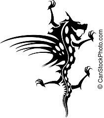 Dragon tattoo - Isolated tattoo of  black dragon on white