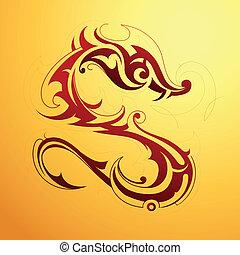 Dragon tattoo - Red dragon tattoo in tribal art style