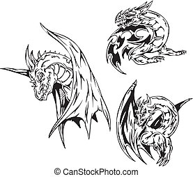 Dragon tattoos. Set of black and white vector illustrations.