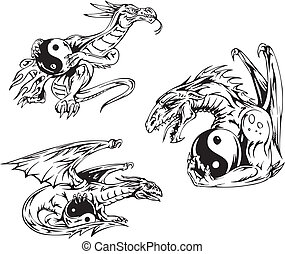 Dragon tattoos with yin-yang signs. Set of vector...