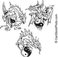 Dragon tattoos with yin-yang signs. Set of vector illustrations.