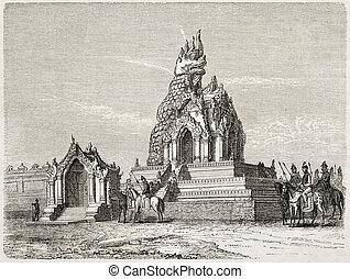 Dragon Temple - Dragon temple old illustration, Amarapura,...