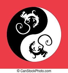 Dragon the yin yang.
