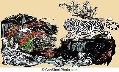 dragon, tigre, blanc, vert, vs