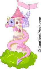 Dragon tower - Dragon twists around the tower