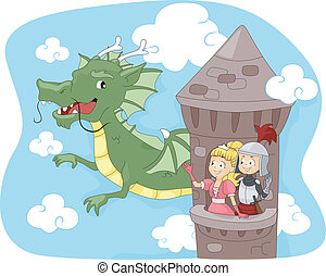 Dragon Tower - Illustration of a Dragon Passing by a Tower