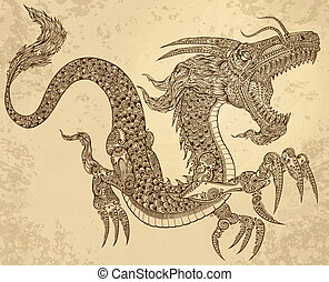 dragon, tribal, vecteur, tatouage, henné