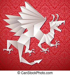 dragon, vecteur, illustration, année