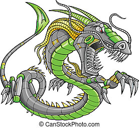 dragon, vecteur, vert, robot, cyborg
