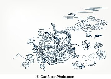 dragon vector background japanese design card mountain