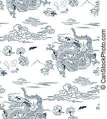 dragon vector background japanese design seamless pattern