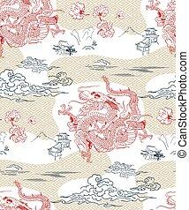 dragon vector backgtound japanese design seamless pattern