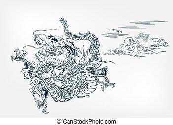 dragon vector backgtound japanese design sky card