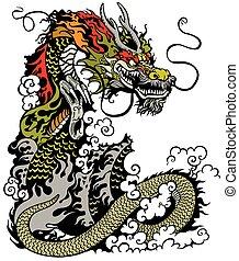 dragon - chinese dragon tattoo illustration
