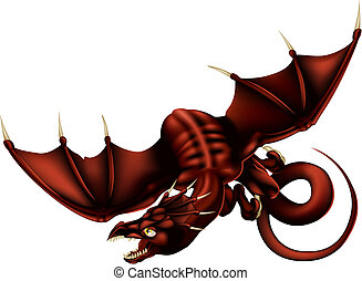 Dragon Vector Illustration - Vector Illustration of a red...
