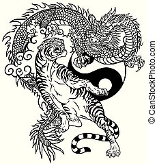 dragon versus tiger black and white tattoo