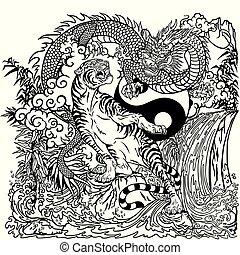 dragon versus tiger yin yang coloring page
