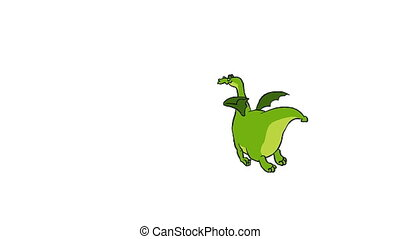 Dragon - Cartoon flying dragon on a white background, loop,...
