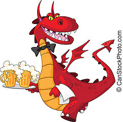 dragon waiter with beer - illustration of a dragon waiter...