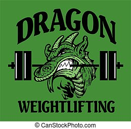 dragon weightlifting team design with mascot and barbell for...
