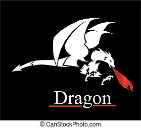 dragon, white dragon. dragon with the flame from the mouth. vector & illustration