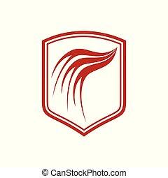Dragon Wing Red Shield Symbol Design