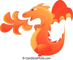 Dragon with fire icon, cartoon style