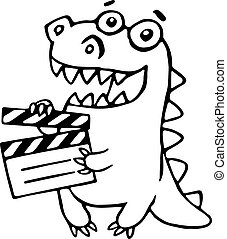 Dragon with movie clapper board