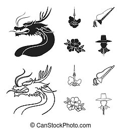 Dragon with mustache, Seoul tower, national musical instrument, hibiscus flower. South Korea set collection icons in black, outline style bitmap symbol stock illustration web.