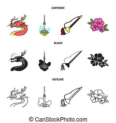 Dragon with mustache, Seoul tower, national musical instrument, hibiscus flower. South Korea set collection icons in cartoon, black, outline style bitmap symbol stock illustration web.