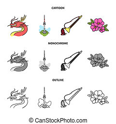 Dragon with mustache, Seoul tower, national musical instrument, hibiscus flower. South Korea set collection icons in cartoon, outline, monochrome style bitmap symbol stock illustration web.