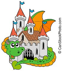 Dragon with old castle - isolated illustration.