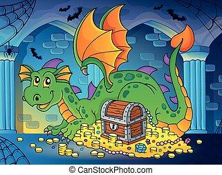Dragon with treasure theme image 2