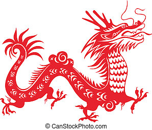 Dragon year 2012. Chinese zodiac symbol. Paper-cut art.
