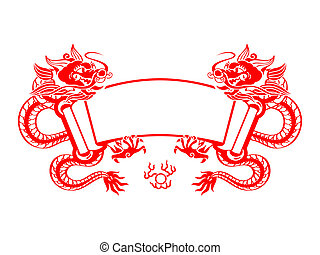 Dragon Year scroll - Chinese New Year red mighty dragons...