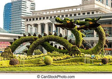 dragones, árboles, china, esculpido, pudong, shanghai