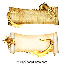 dragones, y, rollosde papel, de, viejo, parchments