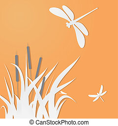 Dragonflies and grass. Vector for you design