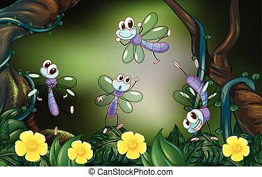 Dragonflies flying in the deep forest
