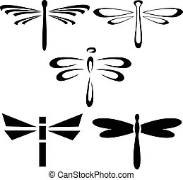 Dragonflies - Set of silhouettes of dragonflies
