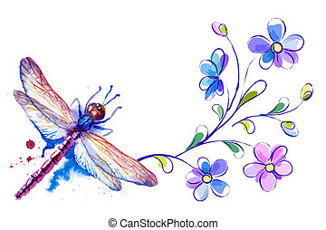 Horizontal background with dragonfly and flowers on the white - vector illustration