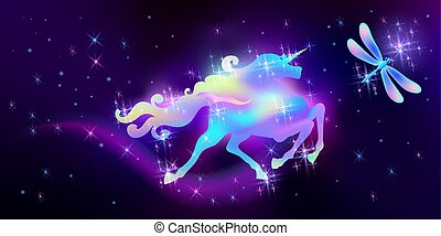 Dragonfly and galloping iridescent unicorn with luxurious winding mane against the background of the fantasy universe with sparkling stars