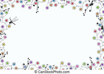 Dragonfly Border - Dragonfly border on a white background.