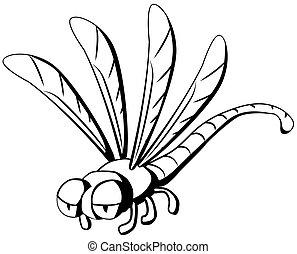 Dragonfly Cartoon Line Drawing