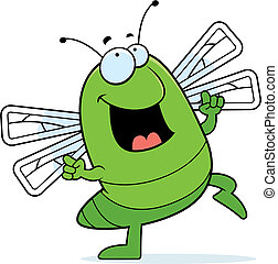 Dragonfly Dancing - A happy cartoon dragonfly dancing and...