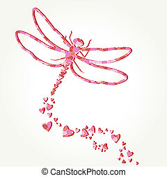 Paper dragonfly decal with heart shapes