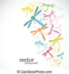 Dragonfly design on white background