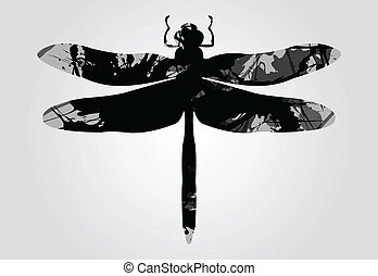 Dragonfly in black patches artwork.