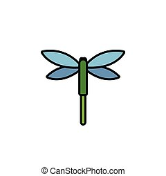 Dragonfly. Filled color icon. Animal vector illustration - ...