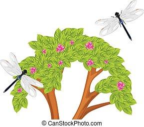 Dragonfly flying over the flowering bush. Vector...